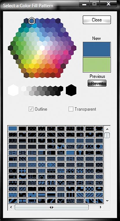 Окно Select a Color Fill Pattern