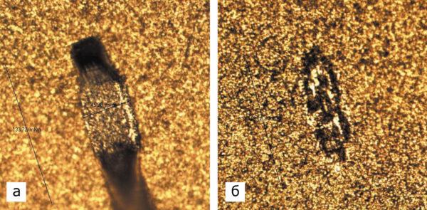 Микросварное соединение на золоченой траверсе основания металлокерамического корпуса, увеличение 200×