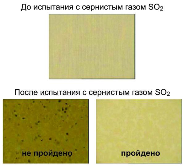 Пример критерия прохождения испытания с сернистым газом SO2