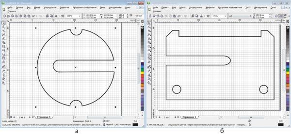 Разработанный в графическом редакторе Corel Draw контур печатной платы
