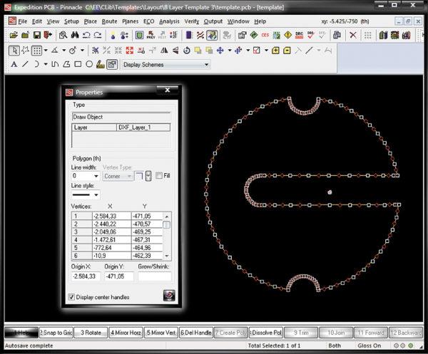 DXF-контур печатной платы в рабочем поле редактора Expedition PCB и диалоговое окно Properties