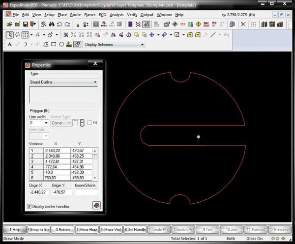 Контур DXF, преобразованный в контур печатной платы Board Outline в редакторе Expedition PCB