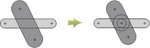 Частный случай преобразования сочетания двух проводников в последовательное соединение четырех