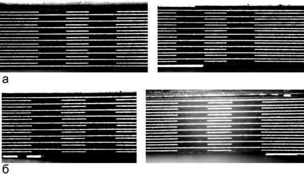 Повторяемость результата оптического совмещения для 20-слойной платы: а) поперечный разрез по оптическим меткам вдоль длинной оси; б) поперечный разрез по оптическим меткам вдоль короткой оси