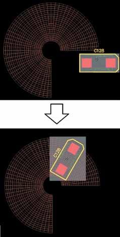 Автоматический поворот компонента наполярной сетке