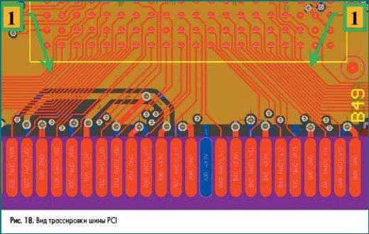 Вид трассировки шины PCI