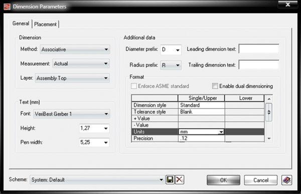 Вкладка General окна Dimension Parameters