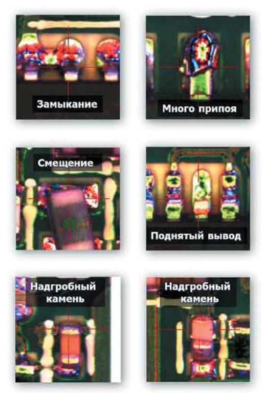 Примеры поиска дефектов при помощи четырехцветной подсветки
