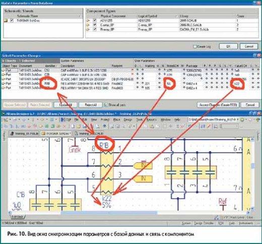 Вид окна синхронизации параметров с базой данных и связь с компонентом