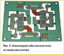 Миниатюрная гибко-жнсткая плата на панели для монтажа