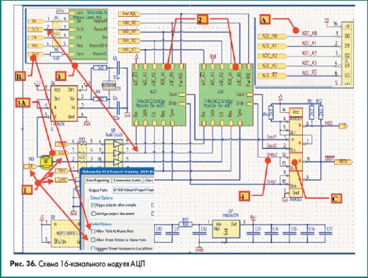 Схема 16-канального модуля АЦП в Altium Designer