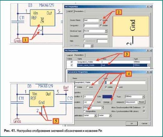 Настройка отображения значений обозначения и названия Pin в Altium Designer