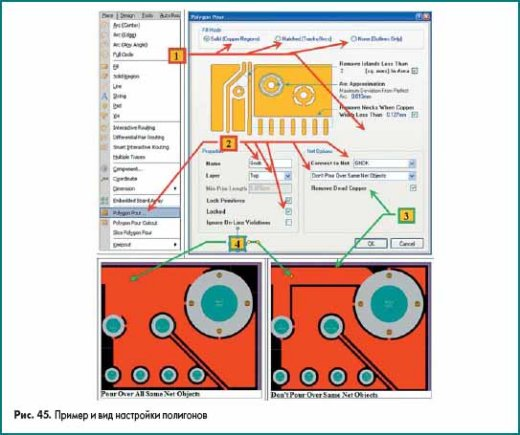 Пример и вид настройки полигонов в Altium Designer