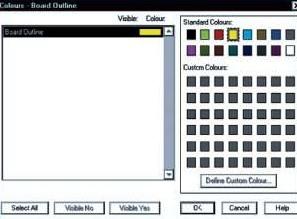 Настройка цвета для отображения контура печатной платы в CADSTAR