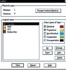 Окно управления слоями проекта печатной платы в CADSTAR