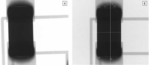 Результаты рентгеновского контроля паяных соединений керамического конденсатора: а) после пайки первой стороны; б) после пайки второй стороны