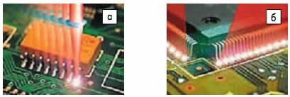 Лазерная пайка: а) раздельным пятном нагрева; б) расщеплением лазерного луча