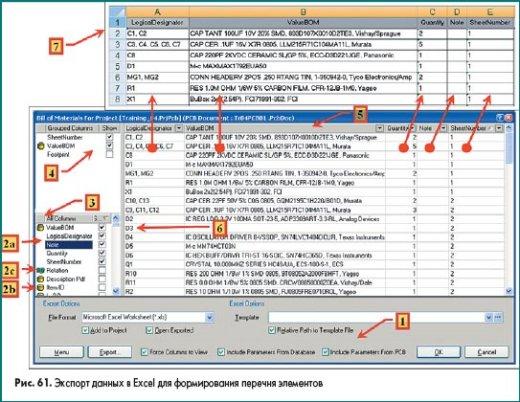 Экспорт данных в Excel для формирования перечня элементов