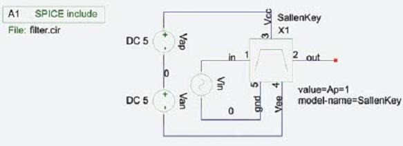 Тестовая схема для макромодели полосового фильтра