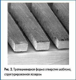 Трапециевидная форма отверстия шаблона, структурированная лазером