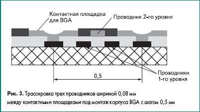 Трассировка трех проводников шириной 0,08 мм между контактными площадками под монтаж корпуса BGA c шагом 0,5 мм