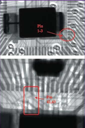 Рентгеновский снимок микросхемы с отсутствующей разваркой соединительного проводника