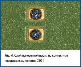 Слой нанесенной пасты на контактные площадки компонента 0201