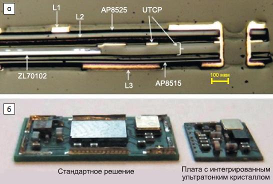 а) Поперечное сечение платы с интегрированным в нее ультратонким кристаллом радиотрансивера ZL70102 отMicrosemi