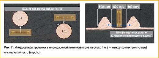 Микрошлифы проволок в многослойной печатной плате на слоях 1 и 2 — между контактами (слева) и в месте контакта (справа)