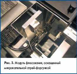 Модуль флюсования, оснащенный микрокапельной спрей-форсункой
