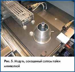 Модуль, оснащенный соплом пайки миниволной