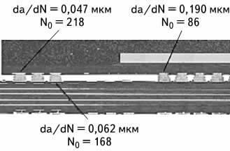 Полученные экспериментальным путем данные по циклическим изменениям трещин N0 и скорости увеличения трещин в мкм за цикл, исходя из длины трещины 280 мкм