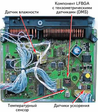 Печатная плата модуля управления, модифицированная при помощи сенсоров, для получения данных в полевых условиях