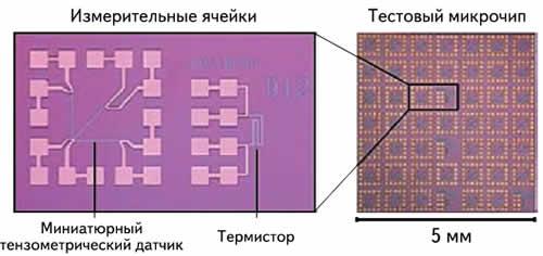 Снимок измерительных элементов продольной деформации и температуры (слева) и отдельного тестового чипа (справа) (сделан с помощью микроскопа)