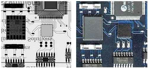 Оптическое изображение и рентгеновское изображение печатной платы с флип-чипом в середине, полученное системой рентгеновского контроля Dage