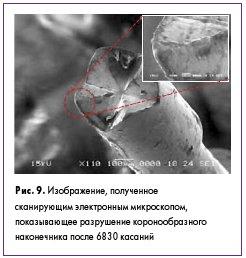 Рис. 9. Изображение, полученное сканирующим электронным микроскопом, показывающее разрушение коронообразного наконечника после 6830 касаний