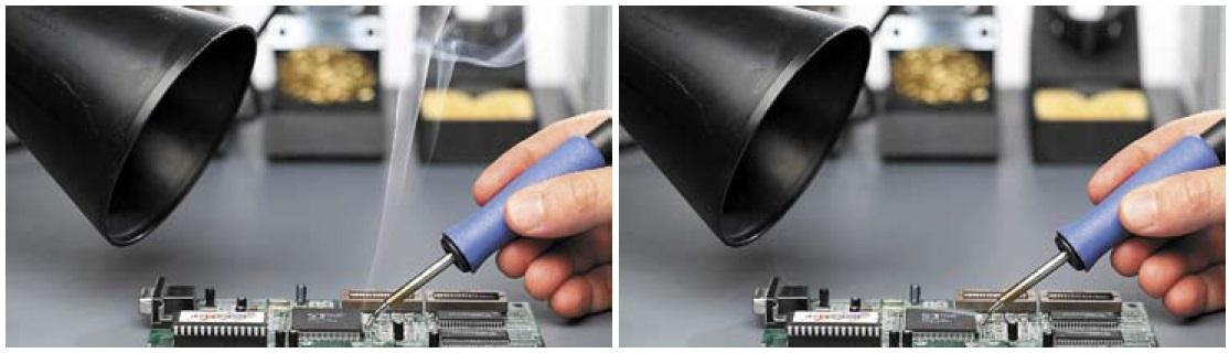 Задымление при пайке свыключенным ивключенным дымоуловителем BOFA