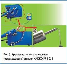 Крепление датчика на корпусе термовоздушной станции HAKKO FR-803В