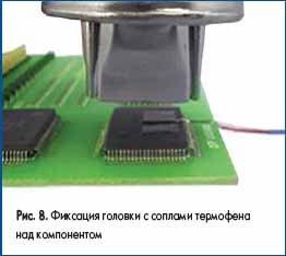 Фиксация головки с соплами термофена над компонентом