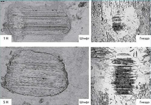 Сделанные при помощи оптической микроскопии снимки следов износа на поверхности контактного штифта и поверхности гнездовой детали после 50 циклов нагрузки при контактной нормальной силе в 1 и 5 Н
