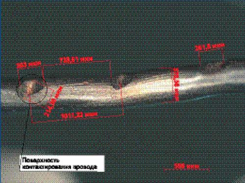 Изображение провода в оптическом микроскопе (увеличение в 100 раз)