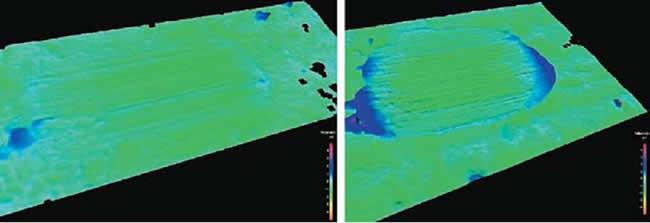 3D-изображения следов износа на двух поверхностях контактных штифтов, подвергнутых разной нагрузке. Сравниваются следы износа при нагрузке в 1 и 5 Н. Для обоих снимков была использована одинаковая цветовая шкала для передачи информации о высоте. При нагрузке в 1 Н заметны лишь несильно выраженные царапины, в то время как при 5 Н видны четко выраженные царапины и деформация материала