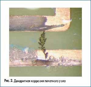 Дендритная коррозия печатного узла