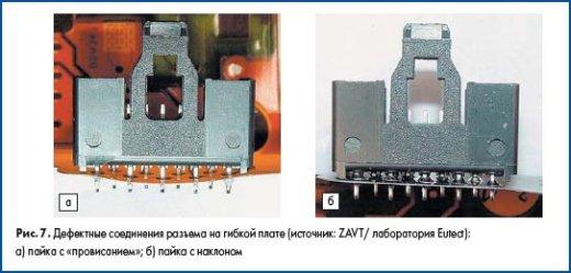 Дефектные соединения разъема на гибкой печатной плате (источник: ZAVT/ лаборатория Eutect)