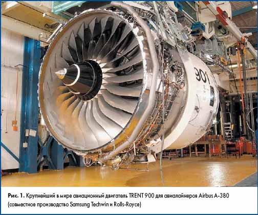 Крупнейший в мире авиационный двигатель TRENT 900 для авиалайнеров Airbus A-380