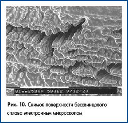 Снимок поверхности бессвинцового сплава электронным микроскопом