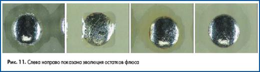 Слева направо показана эволюция остатков флюса