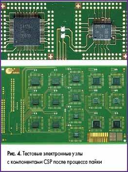 Тестовые электронные узлы с компонентами CSP после процесса пайки