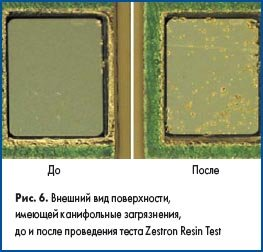 Внешний вид поверхности, имеющей канифольные загрязнения, до и после проведения теста Zestron Resin Test