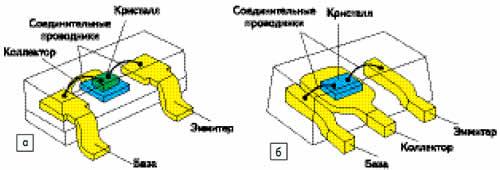 Конструкции транзисторных корпусов: а) S01-23; б) S01-89